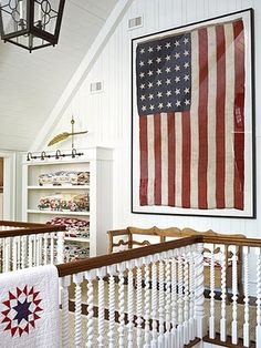 beautiful upper floor. Patriotic decor, flag. Red white and blue. Love for the boys!