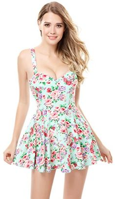 One-Piece Beach Wear Floral Skirted Siamese A-line Skater Swimsuit M Green Arctic Cubic http://www.amazon.com/dp/B00W5YRD22/ref=cm_sw_r_pi_dp_R1TGvb0BCGEQR