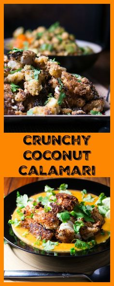 Crunchy Coconut Calamari (Shrimp or Tofu) - Battered in rice flour and buttermilk, breaded in shredded coconut, panko, and cayenne, then fried in very hot coconut oil with a dash of sesame oil... Yes, fried food can be healthy!