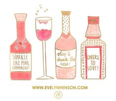 Coral cocktail illustration // Evelyn Henson
