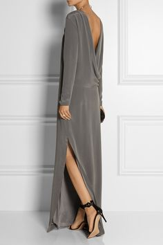 By Malene Birger | Jeanetti draped-back washed-silk gown | NET-A-PORTER.COM