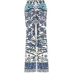 Roberto Cavalli Printed Flared Jeans ($1,300) ❤ liked on Polyvore featuring jeans, blue, roberto cavalli, multi colored jeans, flared jeans, blue jeans and colorful jeans