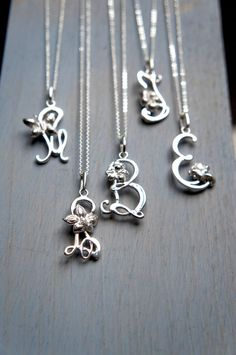 Silver initial necklace   personalized jewelry  by TheManerovs