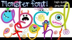 FONTS - Monster-Mania! from Moonlit Productions on TeachersNotebook.com (40 pages)  - monster-themed .png font images!