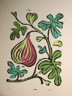 Fig Block Print  -- I love fresh figs!