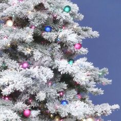 The Holiday Aisle Flocked Alaskan Crystal White/Green Pine Artificial Christmas Tree with 800 Multi-Color Lights Size: Flocked Artificial Christmas Trees, Flocked Christmas Trees, Christmas Greenery, Christmas Colors, Christmas Store, Christmas Fun, Whimsical Christmas, Autumn Decorating, Flocking