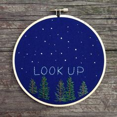 """Starry night embroidery scene, """"look up"""" #embroidery #hoopart #stars"""