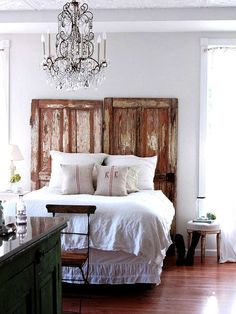 wooden doors used as headboard