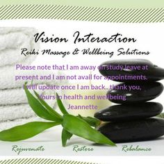 Vision Interaction - Is temporarily closed. I am taking some time away on study leave and are not avail for appointments due to and other circumstances. I will update once I am back . Yours in health and well-being Jeannette I Am Back, Health And Wellbeing, Appointments, Reiki, Massage, Herbs, Study, Wellness, Herb