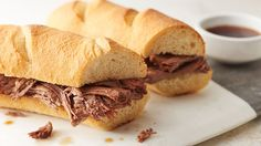 A fantastic classic French dip sandwich made with slow-cooked roast beef and a simple au jus sauce.