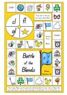 This game complements learning experiences where students are practicing their understanding of blends. This colourful, fun and engaging board game focuses specifically on the L blends: cl. fl and gl. Players spin the spinner and identify the blend the arrow stops on.