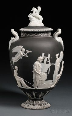 Wedgwood Black Jasper Dip Apotheosis of Homer Vase and Cover, England, 19th century