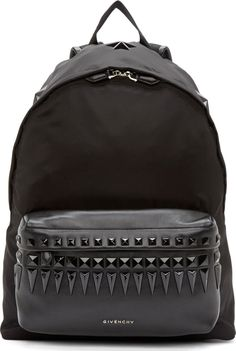 Givenchy - Black Studded Leather Trimmed Backpack