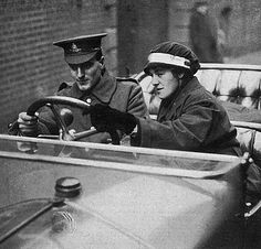 WW1, 1916. A new driver in the Army Motor Transport section being taught to…
