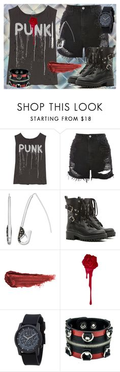"""""""I'm With the Band 2"""" by dundiddit ❤ liked on Polyvore featuring R13, Topshop, Simply Vera, RED Valentino, By Terry, Rip Curl, contestentry and bandtees"""