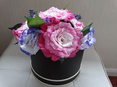 Paper flower hatbox bouquet, paper flowers, paper wedding anniversary gift, crepe paper flowers, handmade flowers A beautiful Paper Wedding Anniversary Gift, Wedding Paper, Crepe Paper Flowers, Paper Roses, Construction Paper Flowers, Handmade Flowers, Thoughtful Gifts, Pink Roses, Flower Arrangements