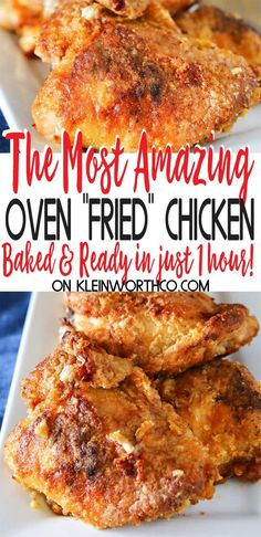 Simplify your dinner with this Oven Fried Chicken that comes out crispy delicious in about an hour Less mess clean up the best baked chicken recipe Ever bakedchicken chicken friedchicken ovenfriedchicken easydinner dinner easyrecipes Best Baked Chicken Recipe, Fried Chicken Recipes, Meat Recipes, Cooking Recipes, Oven Baked Fried Chicken, Bisquick Oven Fried Chicken Recipe, Bake Chicken In Oven, Baked Fried Chicken Breast Recipe, Amazing Chicken Recipes