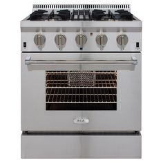 4,000 AGA Professional 4-Burner Convection Single Oven Dual Fuel Range (Stainless Steel) (Common: 30-in; Actual 30-in) at Lowes.com