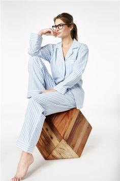 e414973723 Blue 3D Stripe Flannel L S Classic PJ 1002-F-3383 Family Pajama