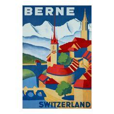 Die Bern ~ Schweiz ~Vintage Schweizer-Reise-Plakat Poster