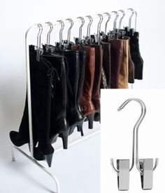 Best Selling Boot Organizer: The Boot Rack Garment & Boot Storage- Fits in Most Closets (The Boot Rack with 6 Silver Hangers) Boottique- The Boot Hanger Company Shoe Storage Space Saver, Boot Storage, Closet Storage, Storage Spaces, Storage Ideas, Storage For Boots, Storage Solutions, Secret Storage, Storage Rack