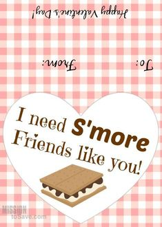 I need S'more Friends Valentine's Day printable tags. A sweet way to wish some one a Happy Valentine's Day.