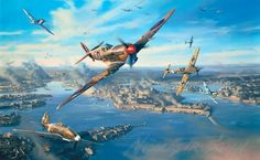 """Fortress Malta"" by Nicolas Trudgian - In the summer of 1942, the desperate battle to keep Malta in Allied hands is at its height. The vital port of Valletta is the beleaguered target for yet another attack by Luftwaffe JU88 bombers. Spitfire Mk VBs of No.249 Squadron, who, in pursuit of the bombers, have become entangled with the enemy escort fighters. These include Me109s of JG53 and Italian Air Force Re2001s of 2º Gruppo based in Sicily."
