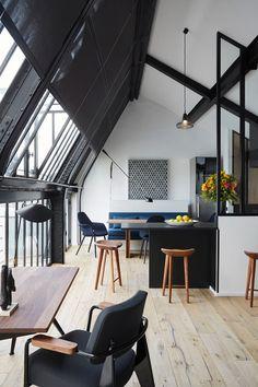 Modern black and white loft.