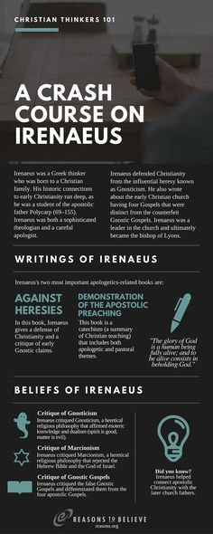 Thinkers A Crash Course on Irenaeus Crash Course on St. Irenaeus from Christian Thinkers Course on St. Irenaeus from Christian Thinkers 101 Early Christian, Christian Faith, 5 Solas, Early Church Fathers, Christian Apologetics, Reformed Theology, Church History, Web Design, Science