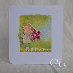 Kleine feine Karte als Dankeschön mit dem Set Petite Petals von Stampin' Up! und Stempel Danke von Heindesign