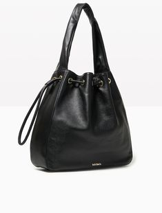 MAX&Co. - Leather and nappa hobo bag, Black - Leather hobo bag with a mix of textures: tumbled on the front and back, smooth at the bottom and on the sides, super-soft nappa on the handle. Carried under the arm. Drawstring fastening. Open and zipped interior pockets. Logo lining. Dimensions: 36x36x10 cm. - Free Shipping and Returns