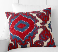 Aldrich Ikat Embroidered Pillow Cover | Pottery Barn