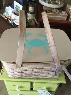 Picnic on the beach! How cute will you look carrying this crab stenciled basket of goodies with Dixie Belle Paint The Gulf and Sand Bar.