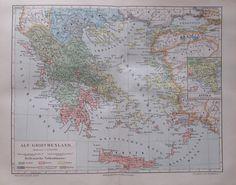 1895 Alt - Griechenland 24x30 cm * alte Landkarte Karte Antique Map Lithographie