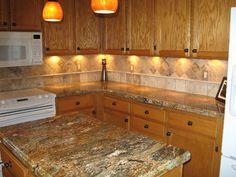 Kitchen Backsplash With Golden Thunder | Golden Ray Granite Countertops  (4098), Golden Ray