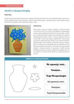 Kartki z niezapominajką - instrukcja i szablon Kindergarten Art, Therapy, Paper