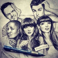 drawing art funny new girl Zooey Deschanel Sketch Max Greenfield ...