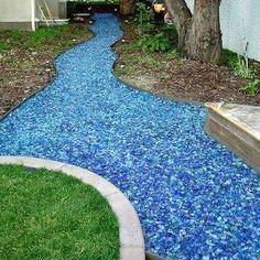 Tumbled blue glass walkway