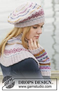 """Sweet As Candy Set - Set consists of: Knitted DROPS beret, neck warmer and wrist warmers with multi-colored pattern in border in """"Karisma"""". - Free pattern by DROPS Design Knitting Patterns Free, Free Knitting, Free Pattern, Crochet Patterns, Finger Knitting, Scarf Patterns, Knitting Tutorials, Drops Design, Bonnet Crochet"""