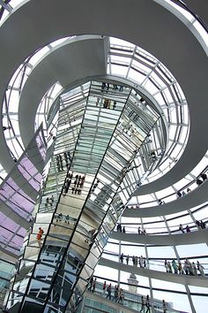 Mirrored cuppola in the Reichstag, the German Parliament, Berlin, Germany