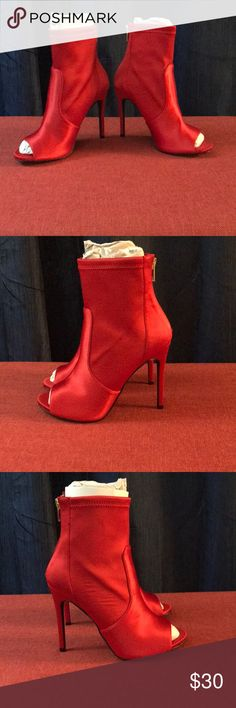 Red Satin Booties Red satin ankle booties  Never worn! In the box Boohoo Shoes Heels
