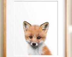 Fox print, PRINTABLE art, Fox wall art, Nursery decor, Animal art, Baby animal prints, Nursery wall art, Woodland animal prints, kids art