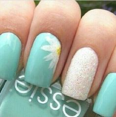 Not crazy about the flower but the blue and white sparkle are phenomenal! Spring nails