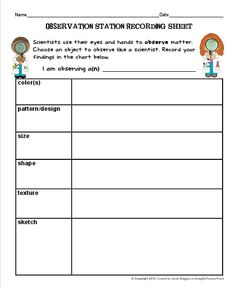 Gather different objects each week for students to observe like scientists using magnifying glasses. Record the color, pattern, size, shape, and texture. FREE from More Than a Worksheet 7th Grade Science, Kindergarten Science, Middle School Science, Science Classroom, Teaching Science, Life Science, Teaching Ideas, Classroom Ideas, Science Worksheets