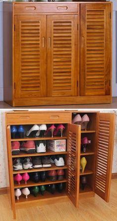 Super Palette Furniture Diy Home Decor 50 Ideas Shoe Rack Drawer, Shoe Rack Closet, Shoe Storage Cabinet, Closet Storage, Storage Cabinets, Shoe Cabinet Entryway, Shoe Cabinet Design, Wooden Shoe Cabinet, Wooden Shoe Rack Designs