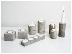 Industrial Vibes: the 2015 Decor Trend Everyone's Talking About Beton Design, Concrete Design, Concrete Crafts, Concrete Projects, Concrete Molds, Concrete Garden, Concrete Candle Holders, Beton Diy, Diy Candles