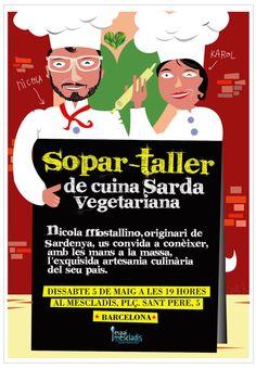 Cartell, Affiche, Poster, Mescladis, Sopar-taller, Cuina, Sarda-Vegetariana, Barcelona, Barna, Disseny Gràfic