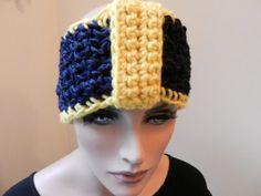 Michigan, WVU - college gift. Blue and Gold Knit Headband, Cozy Crochet Ear Warmer by Sewstacy, $20.00