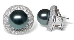 Bernette a Black Tahitian South Sea Cultured Pearl Earring Tahitian Pearl Earrings, Tahitian Black Pearls, Pearl And Diamond Earrings, South Seas, Cultured Pearls, White Gold, Bangles, Jewels, My Style