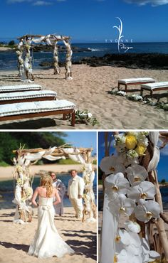 I sort of like the idea of chuppah and benches; not necessarily the colors